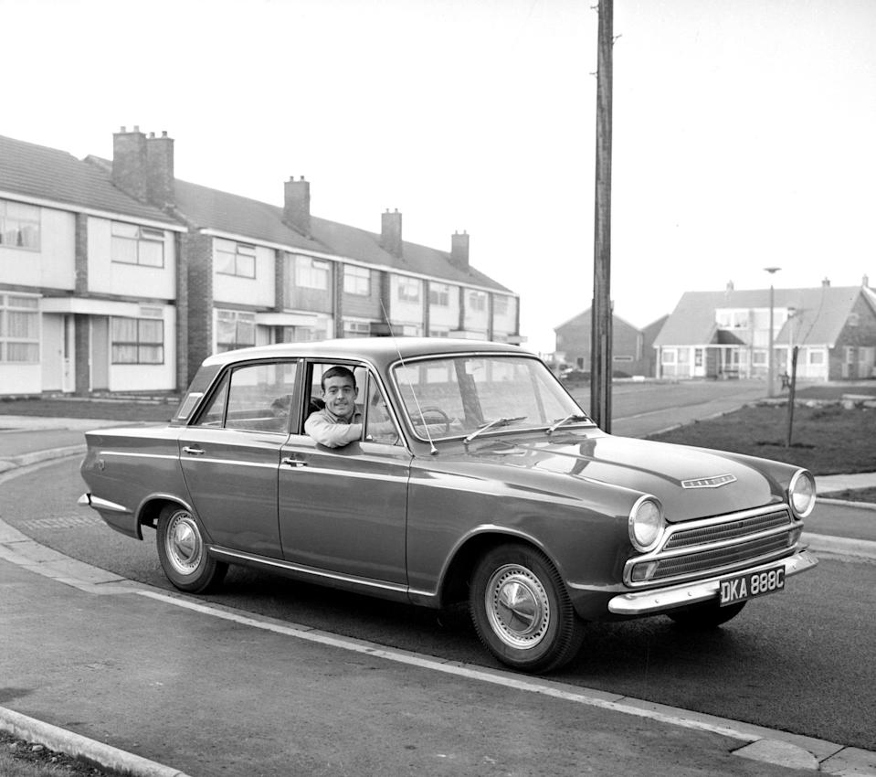 St John with his new Ford Cortina in 1965 - Mirrorpix via Getty Images