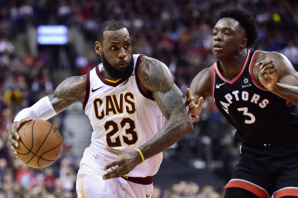 LeBron James had 26 points in a brutal loss to the Raptors. (AP)