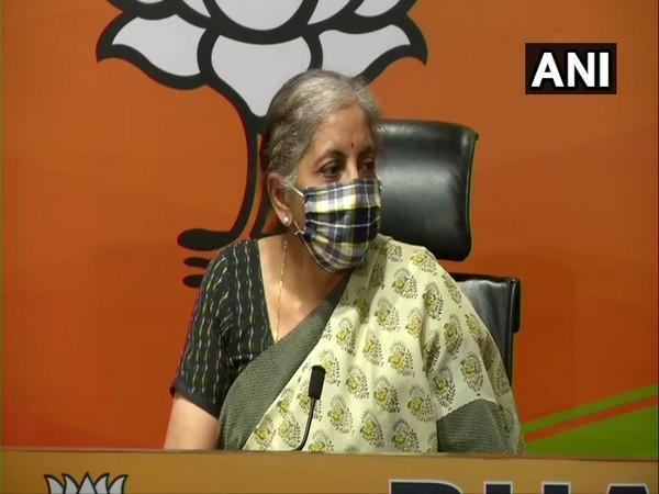 Union Finance Minister and BJP leader Nirmala Sitharaman during a press conference in New Delhi on Saturday. (Photo/ANI)