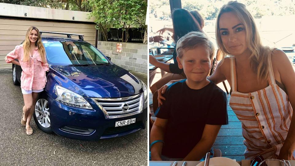 Christine Holgate smiles while standing next to blue car, Christine and one of her two sons.