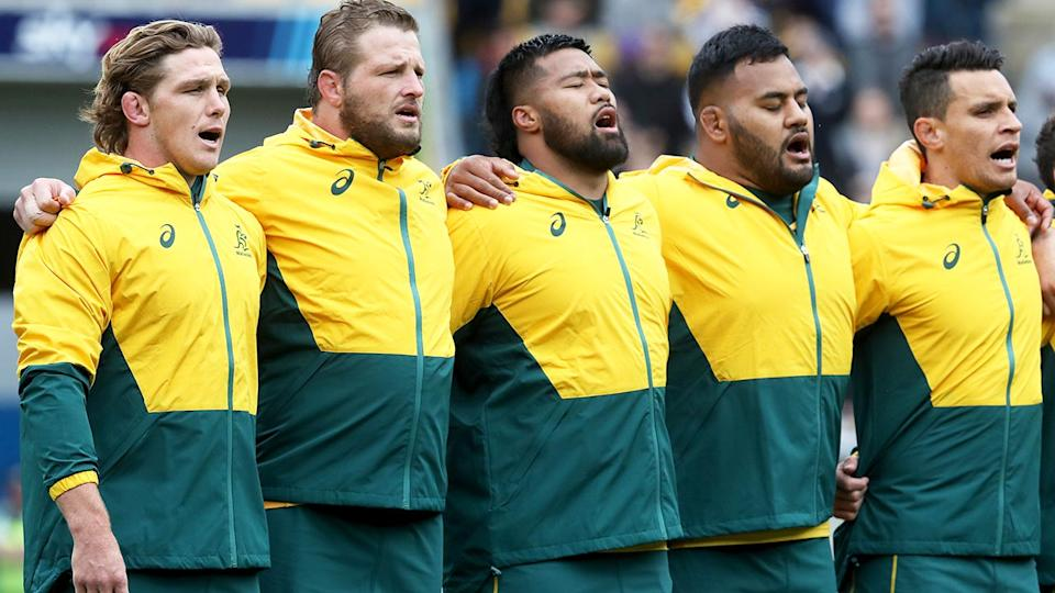 Wallabies players, pictured here singing the national anthem before their Bledisloe Cup clash with the All Blacks.