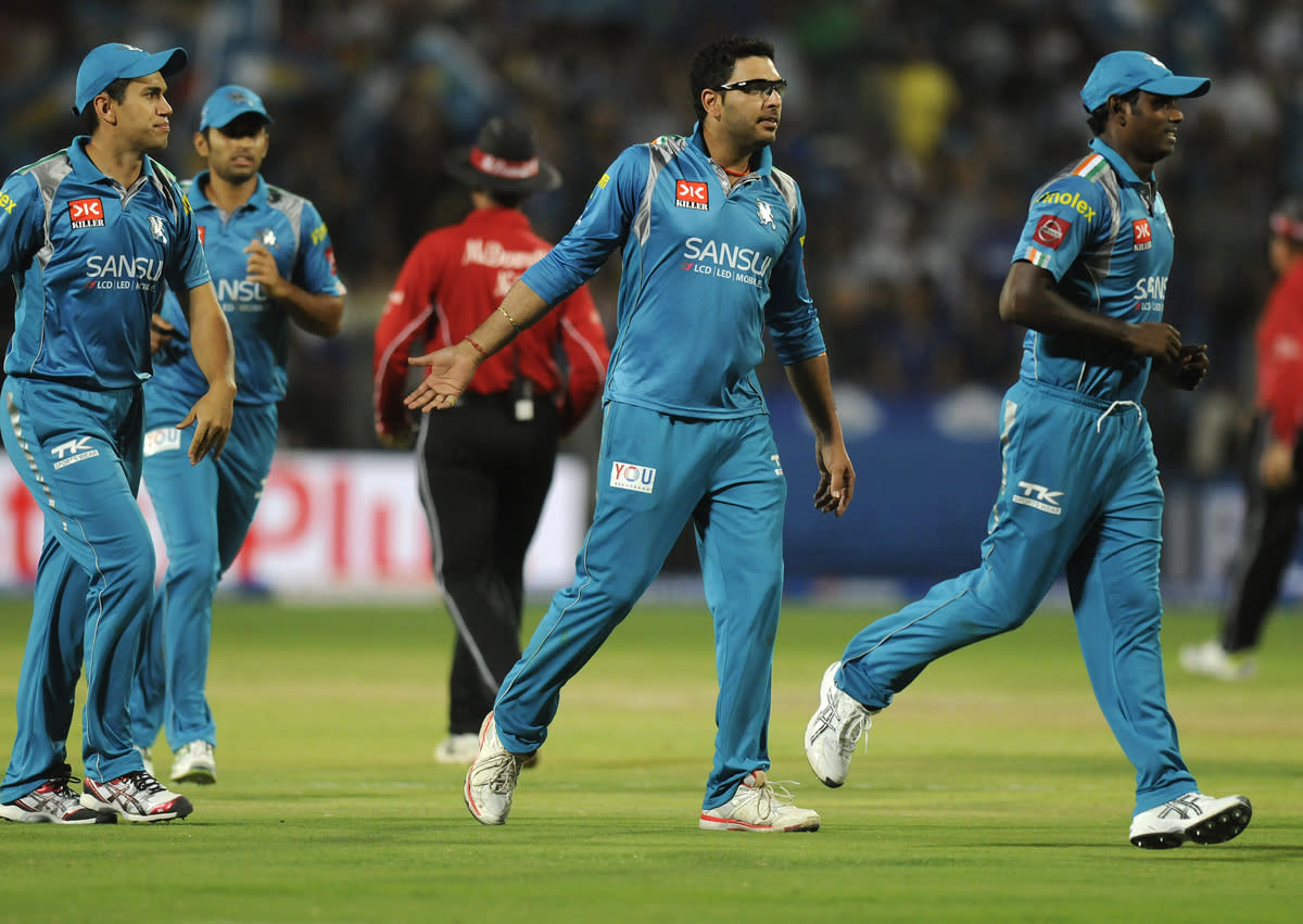 Yuvraj Singh of Pune Warriors celebrates the wicket of Stuart Binny of Rajasthan Royals during match 13 of the Pepsi Indian Premier League (IPL) 2013  between The Pune Warriors India and the Rajasthan Royals held at the Subrata Roy Sahara Stadium, Pune on the 11th April  2013..Photo by Pal Pillai-IPL-SPORTZPICS ..Use of this image is subject to the terms and conditions as outlined by the BCCI. These terms can be found by following this link:..https://ec.yimg.com/ec?url=http%3a%2f%2fwww.sportzpics.co.za%2fimage%2fI0000SoRagM2cIEc&t=1506301656&sig=kw7Tlchcfs_08yvgyOzjKA--~D