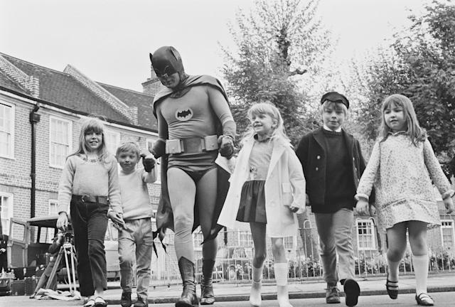 <p>Adam West dressed as Batman for the filming of a road safety ad for children, May 7, 1967. (Photo: Watson/Express/Hulton Archive/Getty Images) </p>