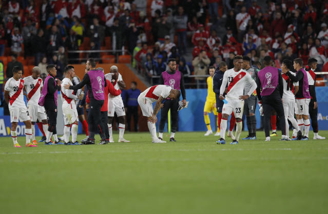 Peru players react after losing the group C match between France and Peru at the 2018 soccer World Cup in the Yekaterinburg Arena in Yekaterinburg, Russia, Thursday, June 21, 2018. (AP Photo/Vadim Ghirda)