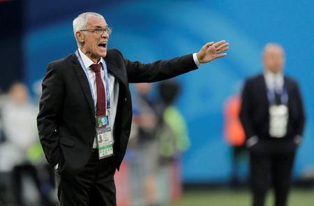 Soccer Football - World Cup - Group A - Russia vs Egypt - Saint Petersburg Stadium, Saint Petersburg, Russia - June 19, 2018 Egypt coach Hector Cuper gestures REUTERS/Henry Romero
