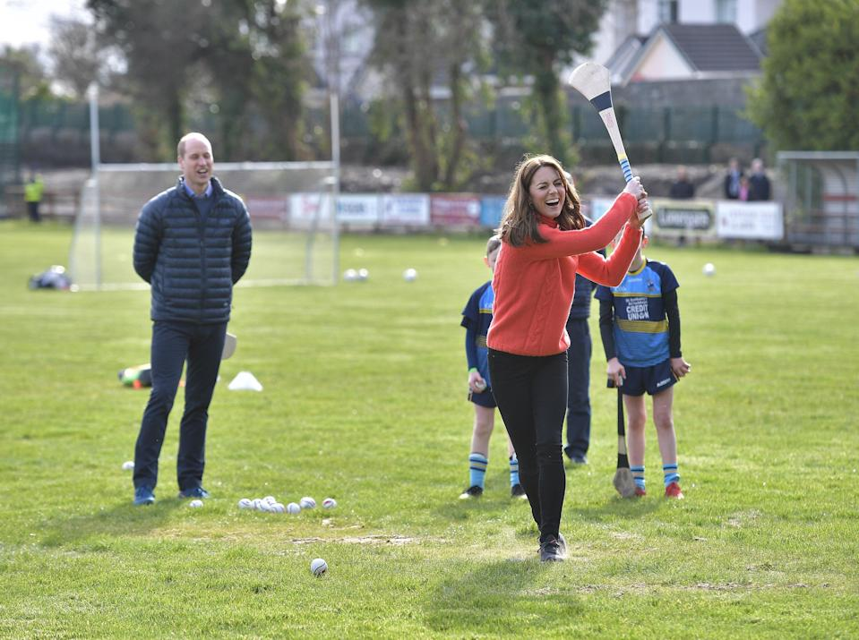 Kate tries out hurling in Ireland on 5 March 2020Getty Images