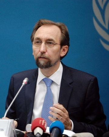 U.N. High Commissioner for Human Rights Zeid Ra'ad Al Hussein addresses a news conference in the Democratic Republic of Congo's capital Kinshasa
