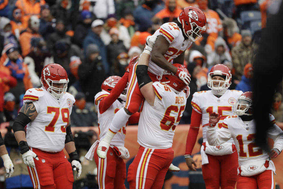 Kansas City Chiefs running back Kareem Hunt's upside could be limited by the team's offensive line. (AP Photo/Jack Dempsey)