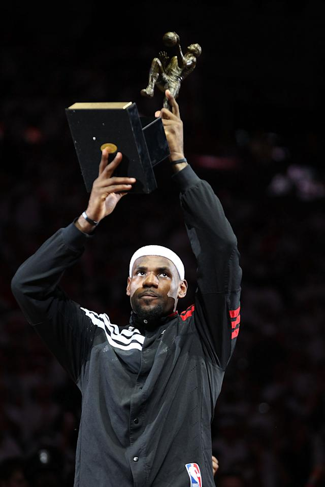 MIAMI, FL - MAY 13:  Forward Lebron James #6 of the Miami Heat receives the Most Valuable Player Trophy prior to playing against the Indiana Pacers in Game One of the Eastern Conference Semifinals in the 2012 NBA Playoffs on May 13, 2012 at the American Airines Arena in Miami, Florida. NOTE TO USER: User expressly acknowledges and agrees that, by downloading and or using this photograph, User is consenting to the terms and conditions of the Getty Images License Agreement.  (Photo by Marc Serota/Getty Images)