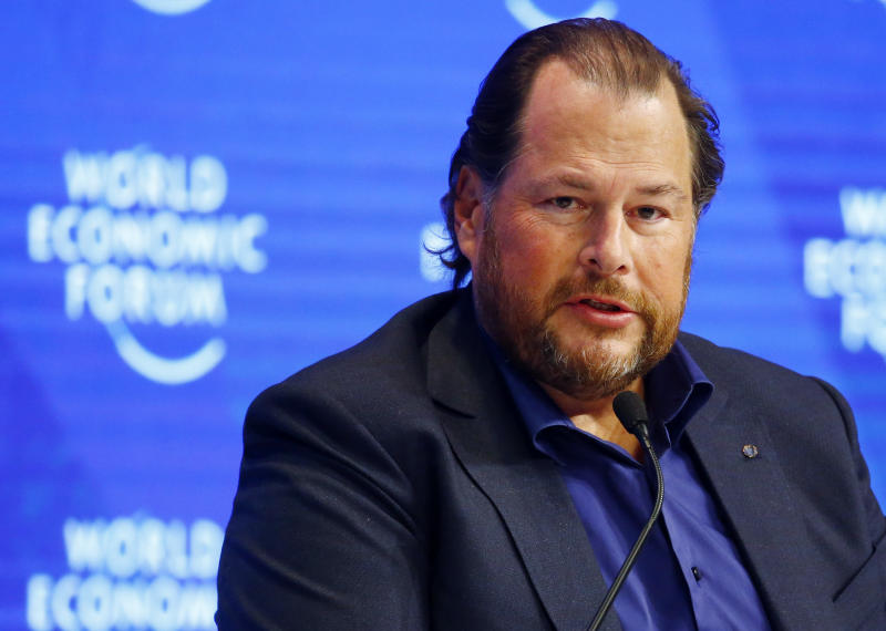 Marc Benioff, Chairman and CEO of Salesforce attends the annual meeting of the World Economic Forum (WEF) in Davos, Switzerland, January 17, 2017. REUTERS/Ruben Sprich