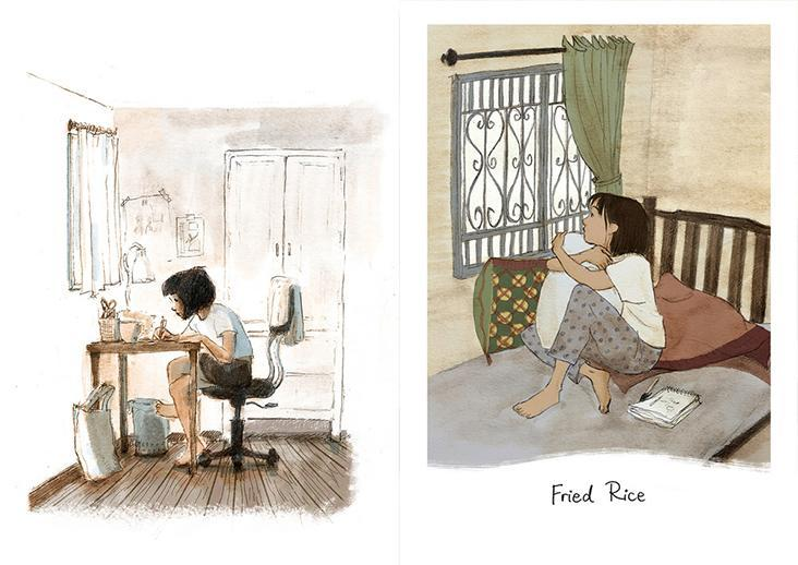Min is the wistful protagonist of 'Fried Rice', who happens to be an illustrator just like Eng.