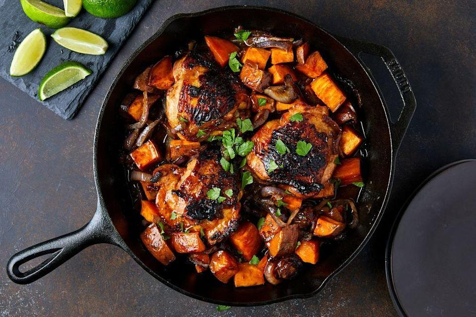 """<p>Most <a href=""""https://www.delish.com/uk/cooking/recipes/a28841199/best-grilled-chicken-breast-recipe/"""" rel=""""nofollow noopener"""" target=""""_blank"""" data-ylk=""""slk:marinades"""" class=""""link rapid-noclick-resp"""">marinades</a> have at least three main components: fat (olive oil), umami (soy sauce), and acid (lime juice). To take it to the next level, you need a spicy and sweet element. That's where the Sriracha and maple syrup come in. You wouldn't expect the two flavours to get along, but in this easy one-pan chicken dinner, they're BFFs. </p><p>Get the <a href=""""https://www.delish.com/uk/cooking/recipes/a35678569/maple-sriracha-chicken-recipe/"""" rel=""""nofollow noopener"""" target=""""_blank"""" data-ylk=""""slk:Maple Sriracha Chicken"""" class=""""link rapid-noclick-resp"""">Maple Sriracha Chicken</a> recipe.</p>"""