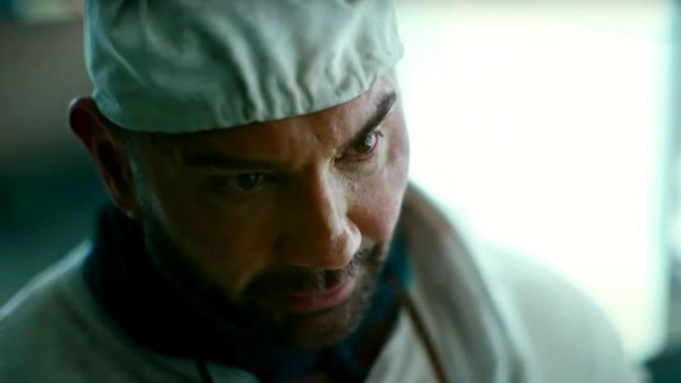 Dave Bautista in a cook's hat as Scott Ward in Army of the Dead.