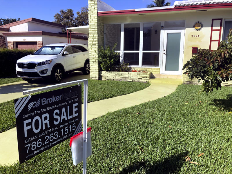 In this Feb. 21, 2020 photo, a home is shown for sale in Surfside, Fla. On Tuesday, Feb. 25, the Standard & Poor's/Case-Shiller 20-city home price index for December is released. (AP Photo/Wilfredo Lee)
