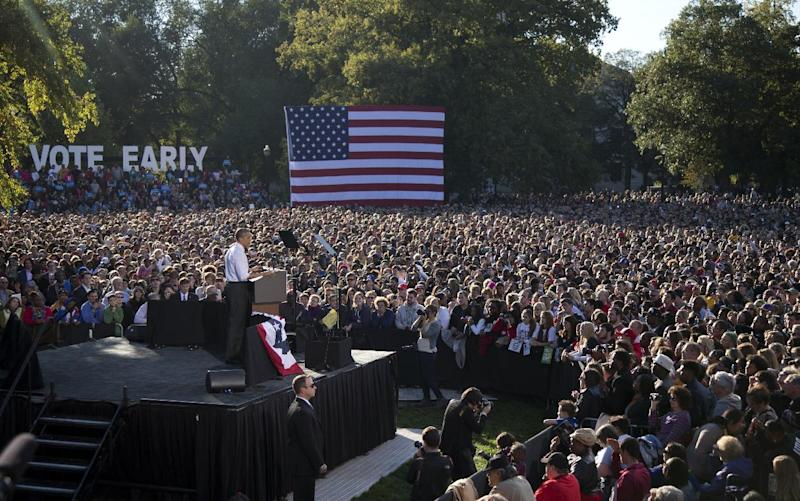 President Barack Obama speaks at a campaign event at The Ohio State University Oval, Tuesday, Oct. 9, 2012, in Columbus, Ohio. (AP Photo/Carolyn Kaster)
