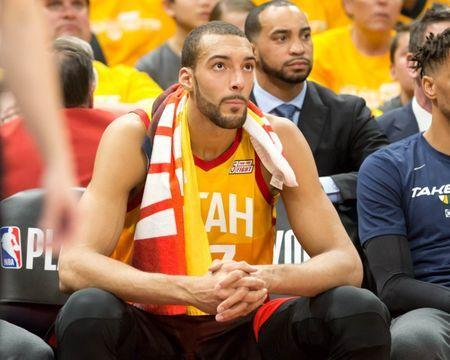 Apr 20, 2019; Salt Lake City, UT, USA; Utah Jazz center Rudy Gobert (27) watches from the bench during the first half of game three of the first round of the 2019 NBA Playoffs against the Houston Rockets at Vivant Smart Home Arena. Mandatory Credit: Russ Isabella-USA TODAY Sports