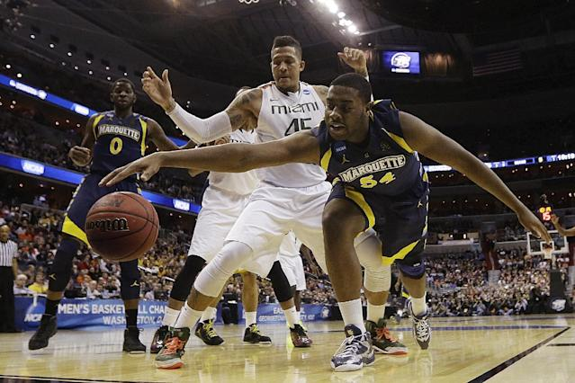 Marquette forward Davante Gardner (54) reaches for a loose ball ahead of Miami forward Julian Gamble (45) during the first half of an East Regional semifinal in the NCAA college basketball tournament, Thursday, March 28, 2013, in Washington. (AP Photo/Pablo Martinez Monsivais)