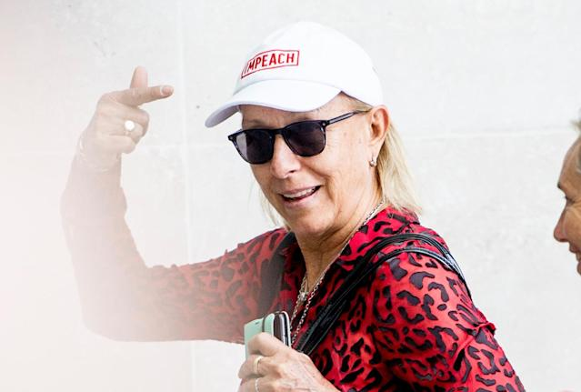 "Tuesday was not the first time Martina Navratilova wore her ""Impeach"" hat in public. (Getty)"
