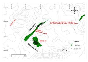Samapleu deposits surface map showing holes SM2020-1 to 5 and the layout of the Typhoon survey.
