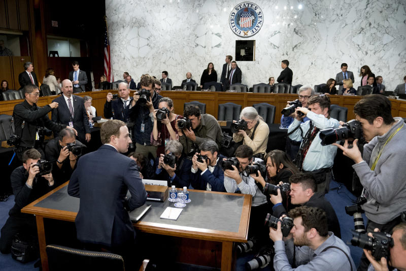 FILE - In this April 10, 2018, file photo, Facebook CEO Mark Zuckerberg returns from a break as he testifies before a joint hearing of the Commerce and Judiciary Committees on Capitol Hill in Washington. A U.S. congressional committee has requested a trove of internal Facebook documents that the company's critics say will demonstrate how the social media giant unfairly leveraged its market dominance to crush or absorb competitors. (AP Photo/Andrew Harnik, File)