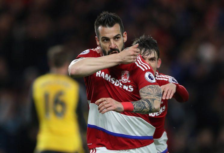 Britain Football Soccer - Middlesbrough v Arsenal - Premier League - The Riverside Stadium - 17/4/17 Middlesbrough's Alvaro Negredo celebrates scoring their first goal Reuters / Scott Heppell Livepic EDITORIAL USE ONLY. No use with unauthorized audio, video, data, fixture lists, club/league logos or