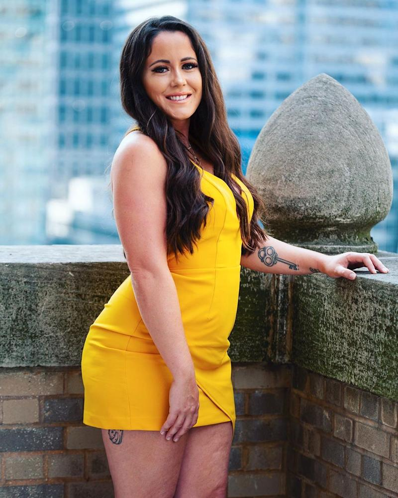 Jenelle Evans poses in a dress
