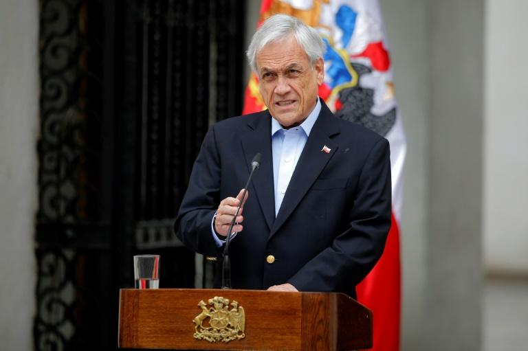 Chilean President Sebastian Pinera addresses the nation on October 26, 2019, as tensions ease in Santiago