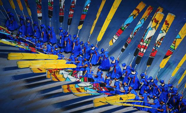 BEIJING - AUGUST 08:  Performers with sailing boats are pictured during the Opening Ceremony for the 2008 Beijing Summer Olympics at the National Stadium on August 8, 2008 in Beijing, China.  (Photo by Mike Hewitt/Getty Images)
