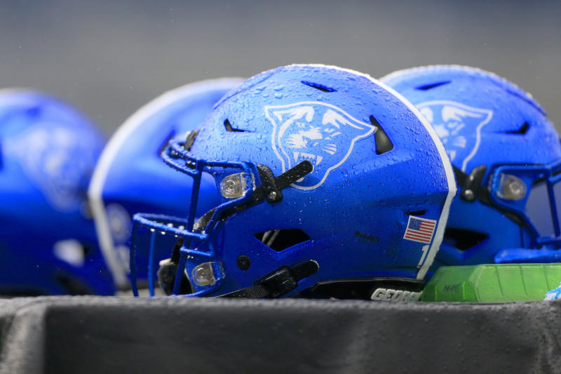 ATLANTA, GA - NOVEMBER 23: GSU helmets on the sidelines during the college football game between the South Alabama Jaguars and the Georgia State Panthers on November 23, 2019 at Georgia State Stadium in Atlanta, Georgia. (Photo by David John Griffin/Icon Sportswire via Getty Images)