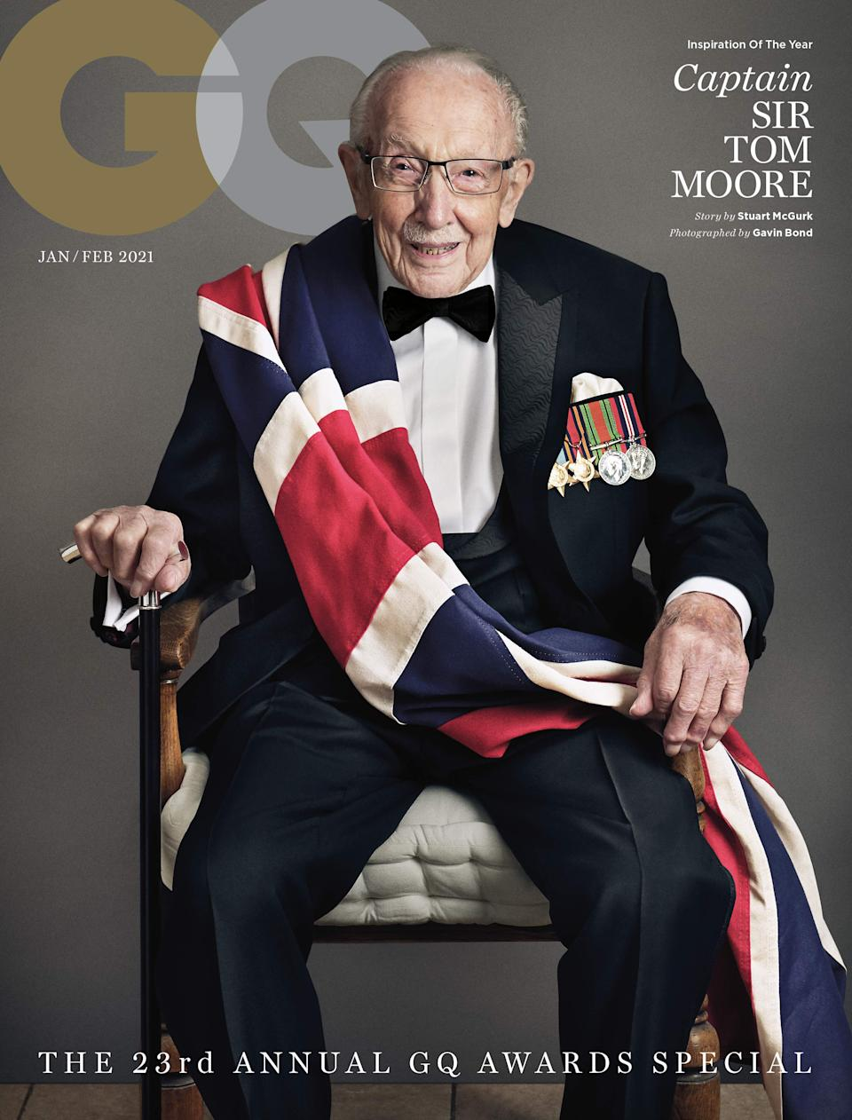 <p>Sir Captain Tom Moore on the cover of GQ</p>GQ MEN OF THE YEAR AWARDS 2020 IN ASSOCIATION WITH HUGO BOSS