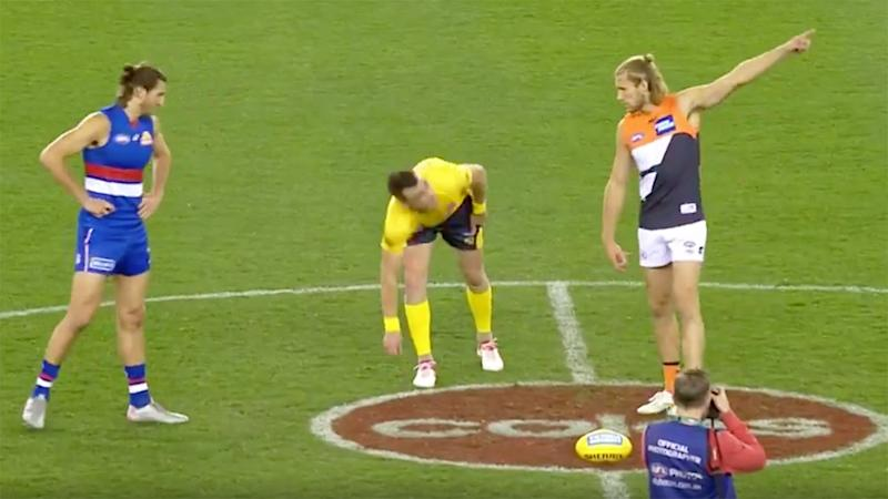 Seen here, GWS and the Western Bulldogs meet for the pre-game coin toss.