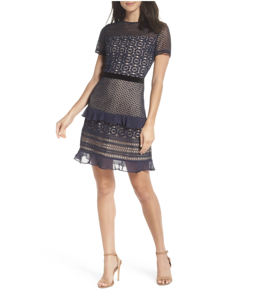 Chelsea28 Velveteen Belt Lace Sheath Dress- Nordstrom, $75 (originally $149)