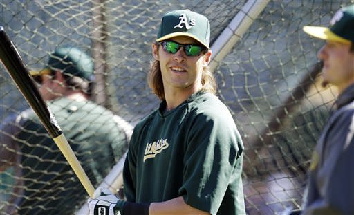 Oakland Athletics' Josh Reddick waits to bat during practice in preparation for Game 3 of the American League division baseball series against the Detroit Tigers, Monday, Oct. 8, 2012, in Oakland, Calif. (AP Photo/Ben Margot)