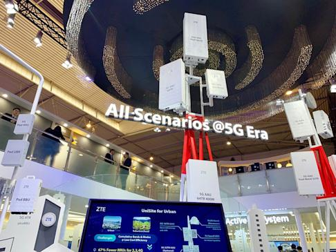 Chinese telecommunications equipment maker ZTE Corp displays its range of 5G mobile base stations at the annual MWC Barcelona trade show, held in the Spanish city in February this year. Photo: Bien Perez