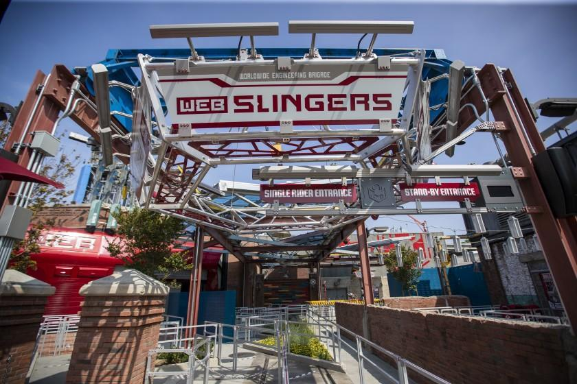 Anaheim, CA - June 02: A view of Web Slingers: A Spider-Man Adventure during media preview of Avengers Campus, California Adventure on Wednesday, June 2, 2021 in Anaheim, CA. PHOTOS ARE EMBARGOED UNTIL 8PM WEDNESDAY, JUNE 2. (Allen J. Schaben / Los Angeles Times)
