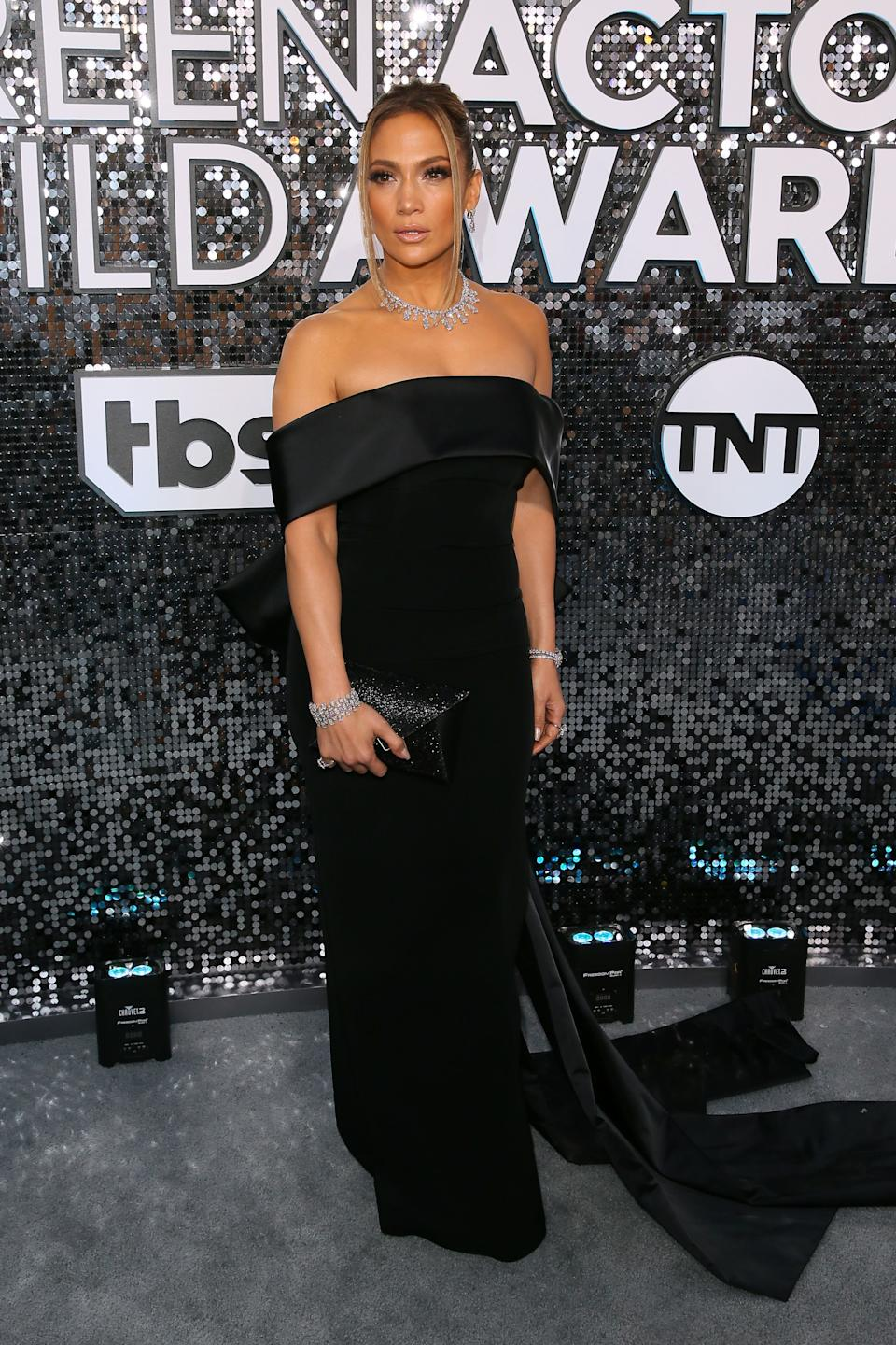 """<h2>Jennifer Lopez in Georges Hobeika</h2><br>J.Lo took a break from her ubiquitous Versace Jungle dress to don this oh-so-classic black strapless gown. <span class=""""copyright"""">Photo by JEAN-BAPTISTE LACROIX/AFP via Getty Images.</span>"""