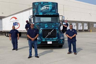 The Volvo VNR Electric trucks will be based at an NFI facility in Southern California that serves as a central distribution center for the region. From left to right: Robert Estrella (driver), Chibuike Nwadigo (driver), Hector Banuelos (fleet manager), Jeffrey Howard (driver), and Elvis Alvarado (driver).
