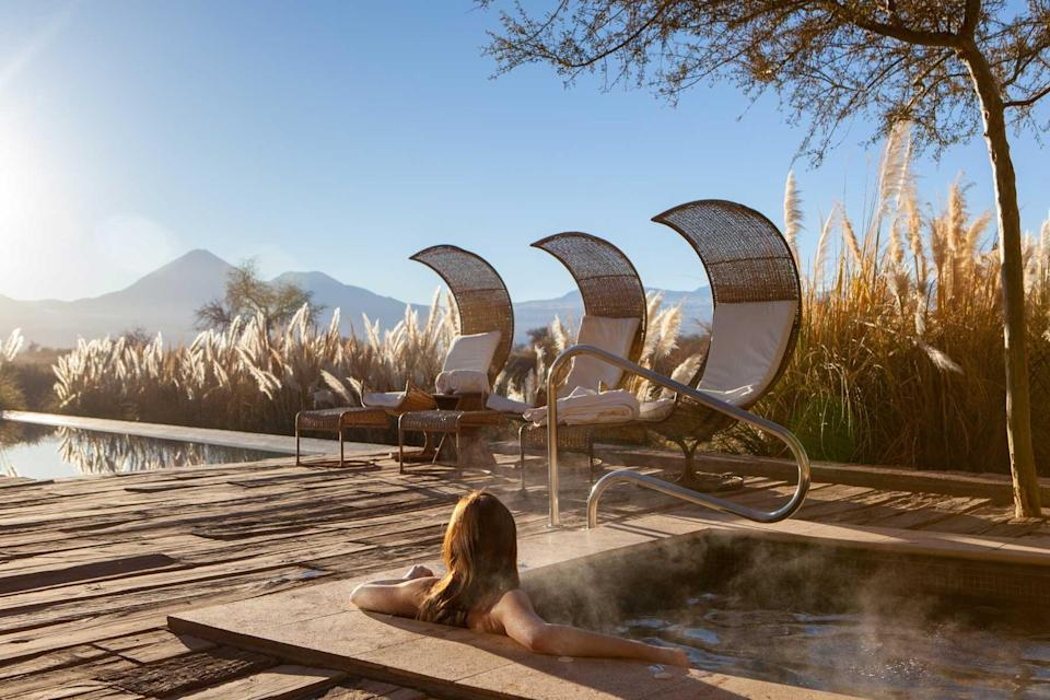 Pool deck at the Tierra Atacama resort, voted one of the best hotels in the world