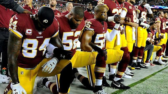 "The controversy over NFL players kneeling during the US national anthem has taken a new turn. The American football league has announced it will fine teams and discipline players if the practice continues. Last year some players knelt during the anthem in protest against police brutality of African Americans. Under the new policy players who choose not to stand may now remain in the locker room until after the anthem is finished. The move is being seen as a victory for President Donald Trump who loudly demanded an end to such protests calling them ""disgraceful"" and unpatriotic. He also urged the played to be fired."