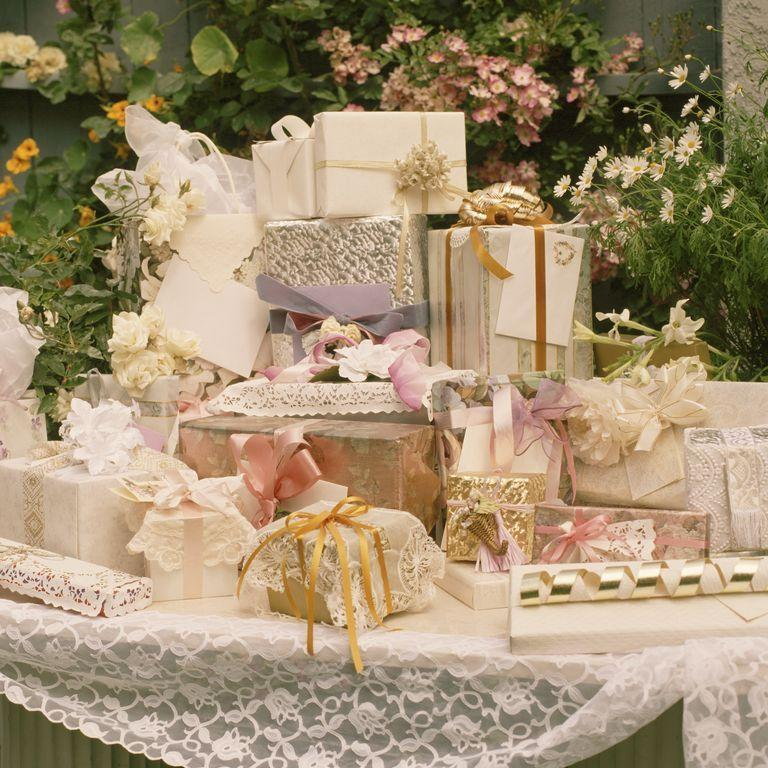 "<p>Before you get creative, take a peek at <a href=""https://www.goodhousekeeping.com/home-products/g3473/wedding-registry-gift-ideas/"" rel=""nofollow noopener"" target=""_blank"" data-ylk=""slk:the couple's gift registry"" class=""link rapid-noclick-resp"">the couple's gift registry</a>. ""The greatest gift in the world is something the couple has already indicated they want,"" says Lea Berman and Jeremy Bernard, authors of <em><a href=""https://www.amazon.com/Treating-People-Well-Extraordinary-Civility/dp/1501157981?tag=syn-yahoo-20&ascsubtag=%5Bartid%7C10063.g.34077284%5Bsrc%7Cyahoo-us"" rel=""nofollow noopener"" target=""_blank"" data-ylk=""slk:Treating People Well"" class=""link rapid-noclick-resp"">Treating People Well</a></em>. But if the gift price points are out reach, pitch in on a larger gift with other guests. There's always a way to meet your needs and the couple's wishes<br></p>"