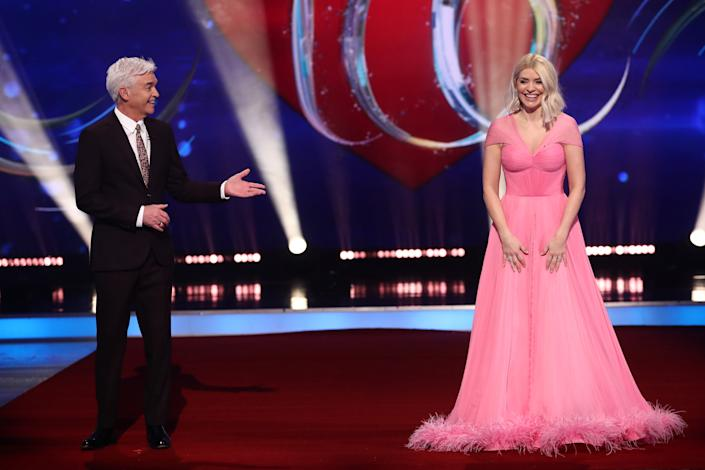 Editorial use only Mandatory Credit: Photo by Matt Frost/ITV/Shutterstock (11757931n) Phillip Schofield and Holly Willoughby 'Dancing On Ice' TV show, Series 13, Episode 5, Hertfordshire, UK - 14 Feb 2021