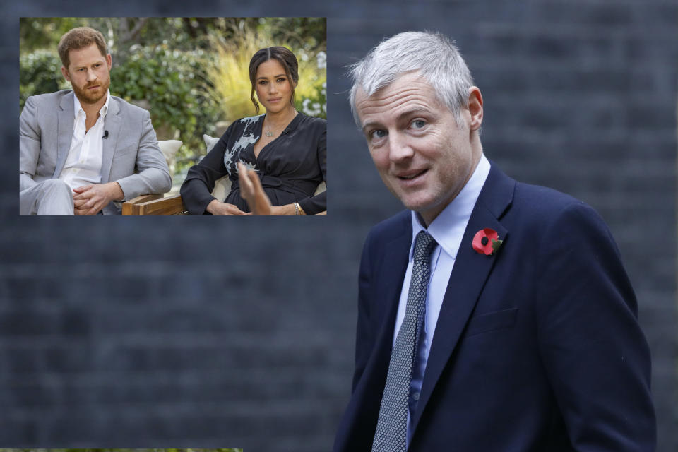 Tory minister Zac Goldsmith has accused Prince Harry of 'blowing up his family' following the revelations in the Oprah Winfrey interview. (Getty Images)