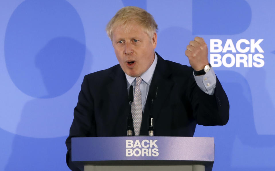 """Conservative MP Boris Johnson speaks during his Conservative Party leadership campaign launch in London on June 12, 2019. - Boris Johnson launched his campaign Wednesday to replace Theresa May as Britain's next leader, as lawmakers moved to stop him and other hardliners from delivering a """"n (Photo by Tolga AKMEN / AFP)        (Photo credit should read TOLGA AKMEN/AFP/Getty Images)"""