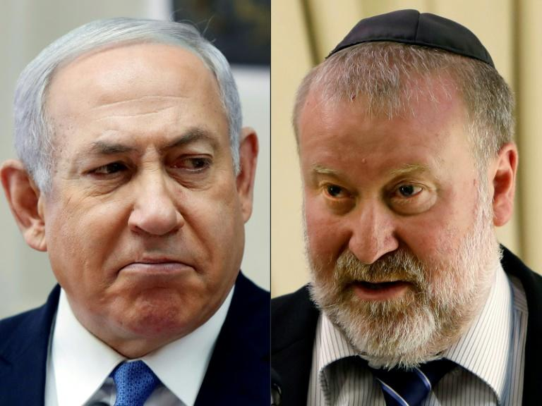 A file combo photo created February 28, 2019 of Israeli Prime Minister Benjamin Netanyahu and Attorney General Avichai Mandelblit
