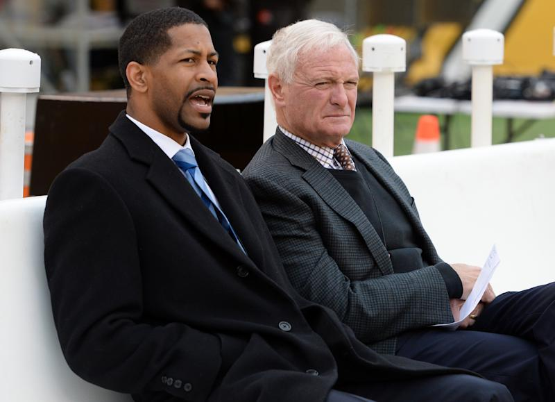Andrew Berry (L), sitting with Browns owner Jimmy Haslam, will return to Cleveland as its new general manager. (Nick Cammett/Diamond Images/Getty Images)