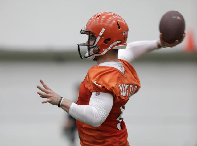 "The rise (or fall) of Baker Mayfield will play out in front of HBO cameras as the Cleveland Browns will be featured in ""Hard Knocks."" (AP)"