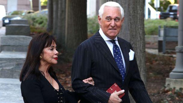 PHOTO: Roger Stone, former advisor to President Donald Trump, and his wife Nydia Stone arrive at the E. Barrett Prettyman United States Courthouse, Nov. 15, 2019, in Washington, DC. (Mark Wilson/Getty Images)