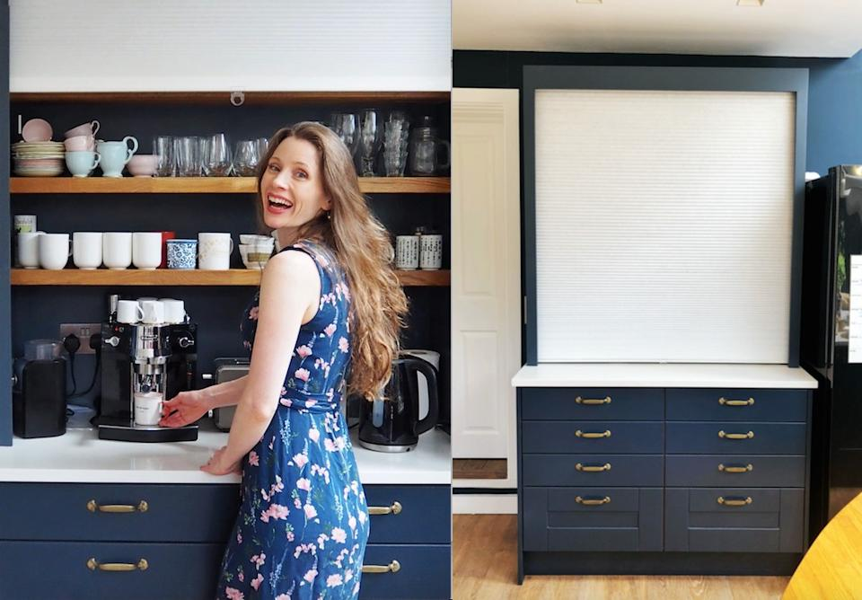 Jennifer Earle has come up with a genius hack using Ikea blinds to hide her coffee making area. (Supplied Jennifer Earle)
