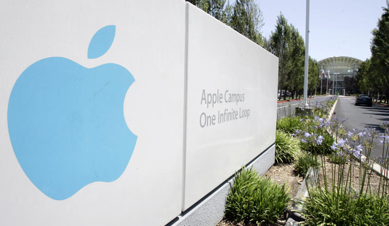FILE - This June 24, 2009 file photo shows Apple headquarters in Cupertino, Calif. A breakdown released Tuesday, Aug. 12, 2014 by Apple Inc. showed 54 percent of the company's technology jobs in the U.S. are handled by whites and another 23 percent by Asians. Men make up 80 percent of Apple's technology workforce throughout the world. (AP Photo/Paul Sakuma, File)