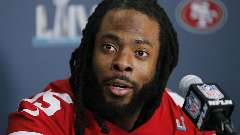 Richard Sherman, pictured here speaking to the media in San Francisco.